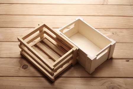 Wooden Boxes on Rustic Background