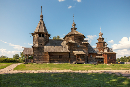 transported: Church of Transfiguration in Old Russian Town of  Suzdal, Russia. Preobrazhenskaya church from village Kozlyatevo, transported in Suzdal - monument of wooden architecture of middle of XVIII century.