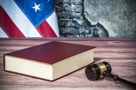 magistrate: Gavel and USA flag on the table Stock Photo