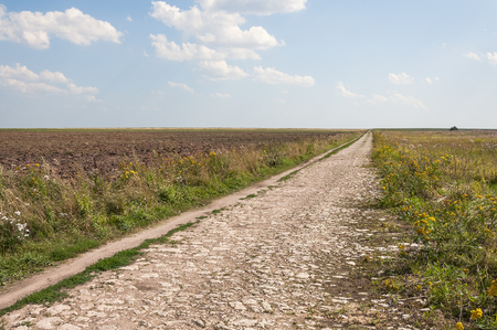 stone road: Old stone road in Russia, in field