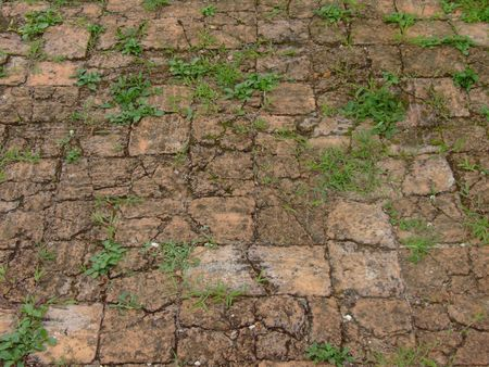 Ancient  background red brick floor road wall  photo