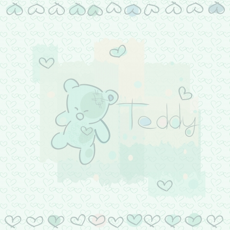 Illustration for a card, shows a teddy, hearts,  Teddy  appears