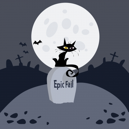 The image on the theme of Halloween  Pictured night, cemetery, full moon, black cat, bats, the inscription on the grave  epic fail   Vector