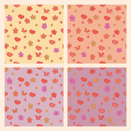 Seamless pattern hearts flowers romantic background Vector