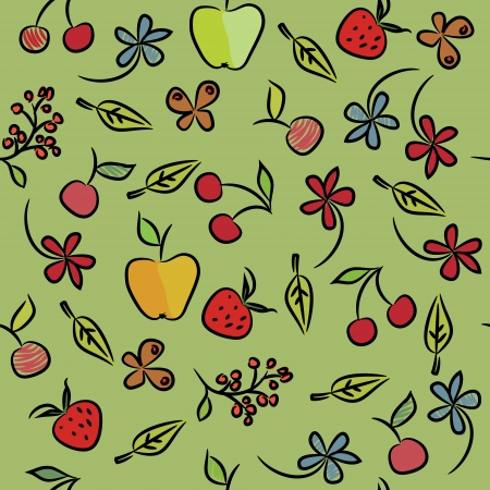 Seamless pattern of fruit, floral and berries  Vector