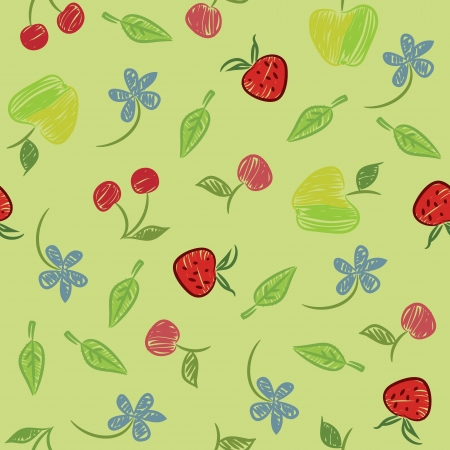 Seamless background with fruits and berries, pencil sketches  Vector