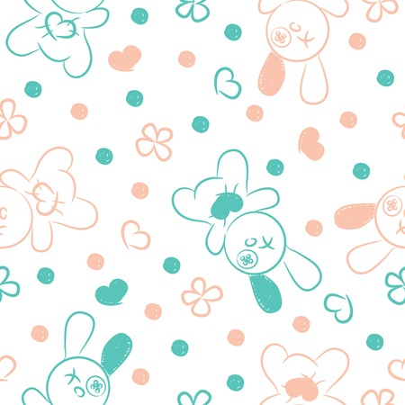 Seamless background with toys, hearts and flowers