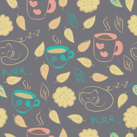 Seamless background with cups of tea, coffee, cocoa, cookies, sleeping cat, autumn leaves  Vector