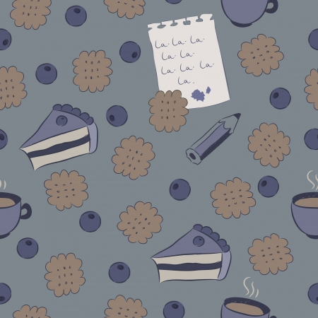 Seamless pattern with cakes, blueberry, coffee, biscuits, a pencil and a sheet of paper covered with writing