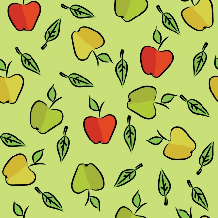 Seamless pattern with green, red apples and leaves  Illustration