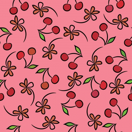 Seamless background with cherries and flowers, plants