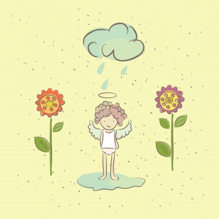 goodness: Illustration with an angel and flowers in the rain, the angel wants to grow