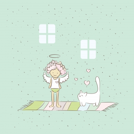 Cartoon illustration with angel and cat in home  Vector