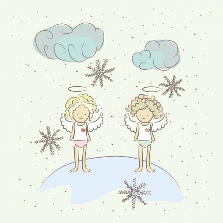 Illustration with two angels and snowflakes in winter