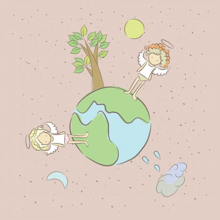 Illustration with two sad lonely angel on a small planet  Illustration