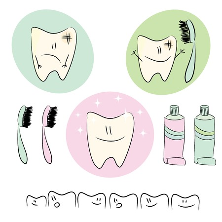Icons, fun illustrations on the theme of dental care for children Vector Illustration