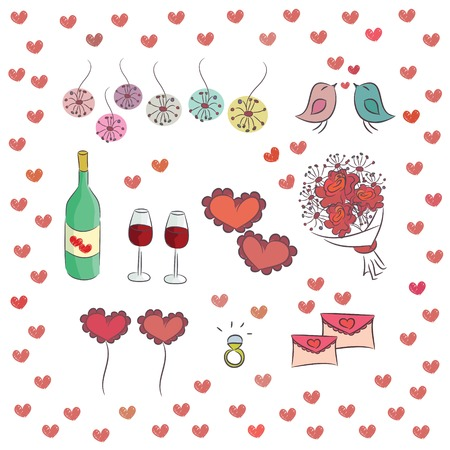 Set of elements for st  Valentine s day  Cartoon illustration, isolated on white background
