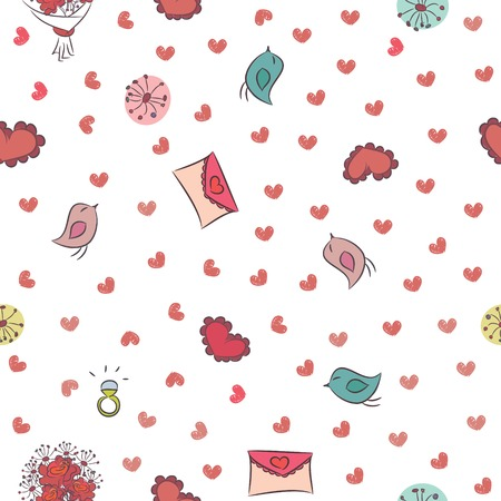 Seamless background for Valentine s Day with hearts, birds, love notes and roses