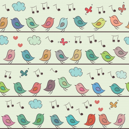 Seamless pattern of colorful cartoon birds, clouds and butterflies  Illustration