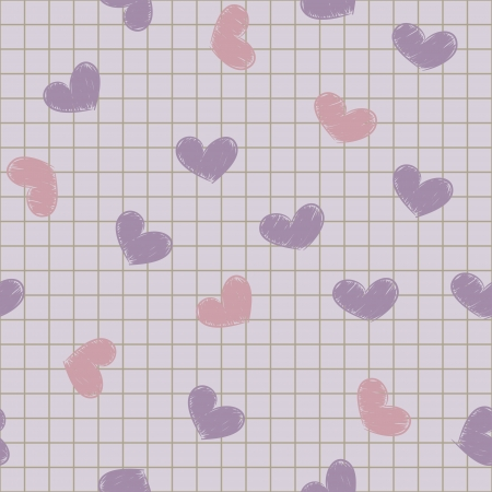 Seamless background with ink painted hearts on a sheet of notebook.