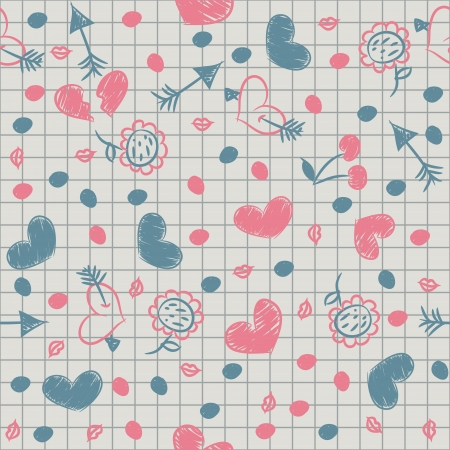 Seamless with painted hearts, arrows on a sheet of notebook.