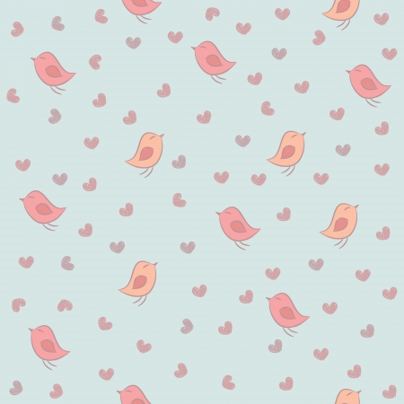 Seamless pattern with pink birds and hearts on a blue background.