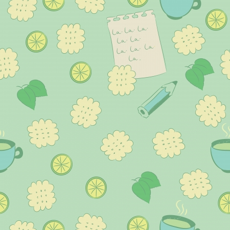 Seamless pattern with cookies, lime, mint, tea, a pencil and a sheet of paper covered with writing. Vector