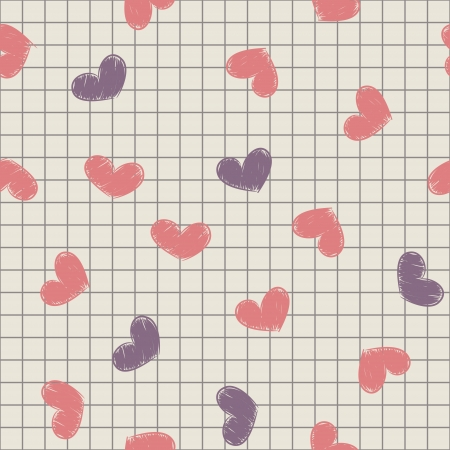 Seamless pattern with ink painted hearts on a sheet of notebook.