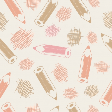 Seamless pattern with brown, red pencils and strokes sketches.