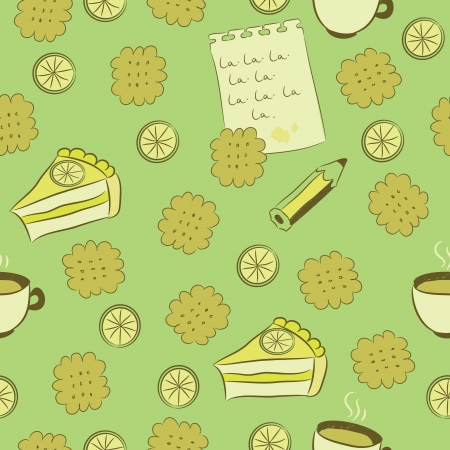 Seamless pattern with cakes, lemon, tea, biscuits, a pencil and a sheet of paper covered with writing.
