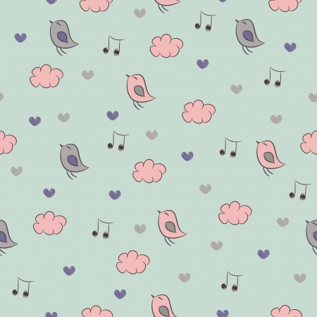 Seamless pattern with sing birds, hearts, clouds and notes