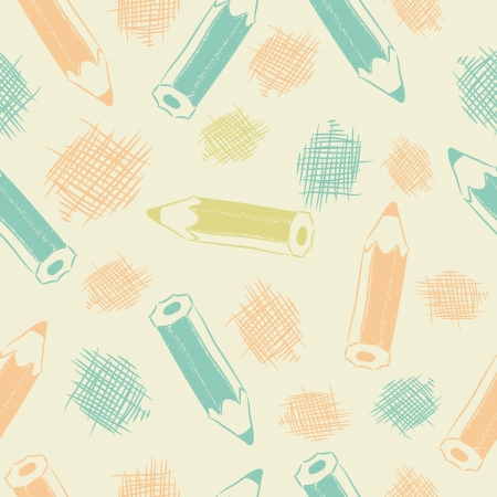 Seamless pattern with blue, orange pencils and strokes sketches. Illustration
