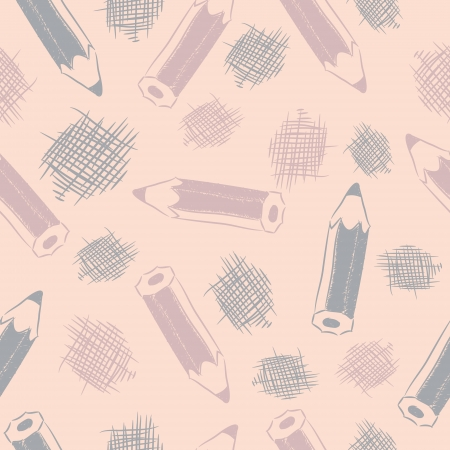 Seamless pattern with gray pencils and strokes sketches. Illustration