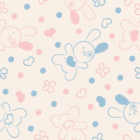 Seamless background with pink, blue toys, hearts and flowers.