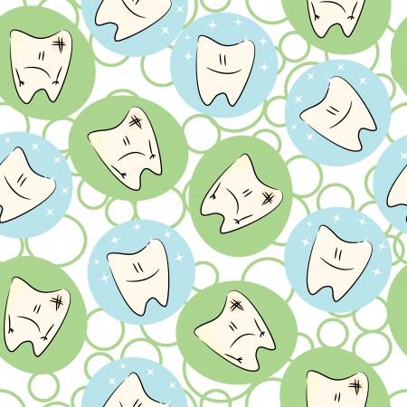 dientes sucios: Patrón inconsútil del bebé con personajes de los dientes limpios y sucios