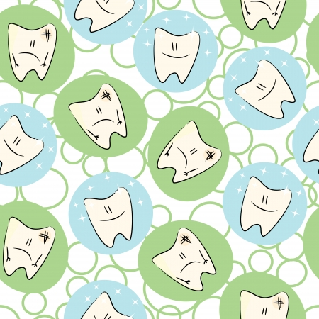 dirty teeth: Seamless baby pattern with of characters  clean and dirty teeth