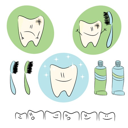 Icons, fun baby illustrations on the theme of dental care.