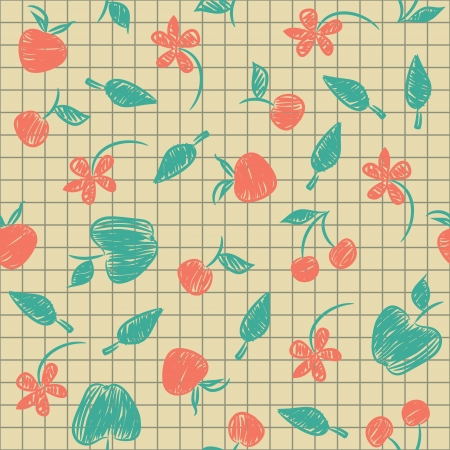 Seamless pattern sketch with fruit and berries painted on a paper.