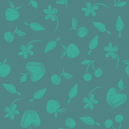 Seamless pattern with silhouettes fruit, flowers and berries.