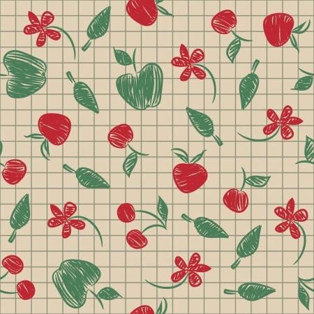 Seamless pattern sketch with fruit and berries painted on a paper