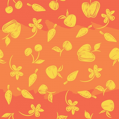 Seamless pattern with silhouettes fruit, berries and flowers