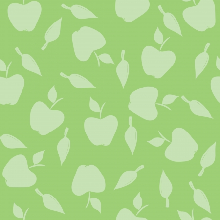 Seamless pattern with silhouettes apples and leaves on a green background