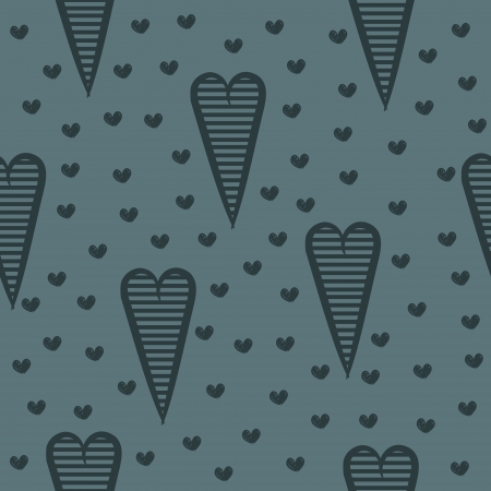 Seamless pattern with blue hearts, romantic gothic background  Illustration