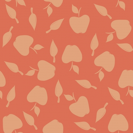 Seamless pattern with silhouettes apples and leaves on a red background  Illustration