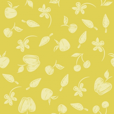 Seamless pattern with silhouettes fruit, flowers and berries  Illustration
