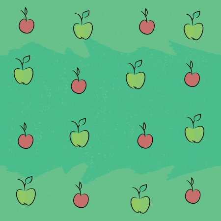 Seamless pattern with apples and plums on a green background
