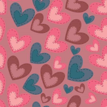 Seamless pattern with cartoon hearts