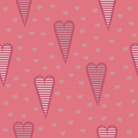 Seamless pattern with pink striped hearts, romantic background