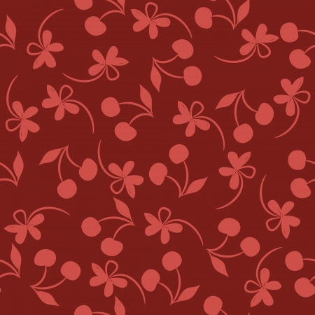 Seamless pattern with silhouettes cherries and flowers on a red background  Illustration