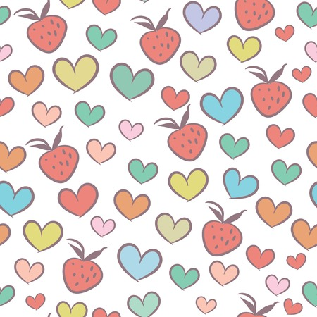 Seamless pattern with colorful hearts and strawberries  Illustration